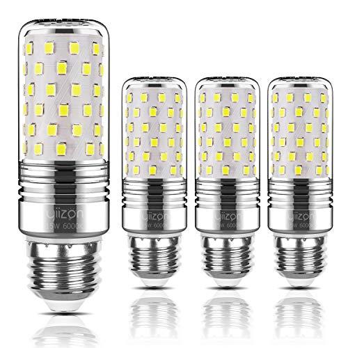 Yiizon LED Mais Glühbirne, E27, 15W, entspricht 120 W Glühlampe, 6000 K Kaltweiß, 1500LM, CRI>80 +, kleine Edison-Schraube, nicht dimmbar Kandelaber LED Glühlampen(4 PCS) - Edison Schraube Lampe