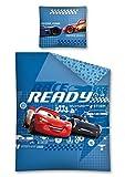 DP Disney Cars Cama Reversible, Tamaño: 140x 200cm, Funda de Almohada DE 70x 80cm en Color Azul 100% Algodón