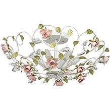 Lampadario da soffitto fiore decorativo gocce cristalli trasparente dipinto in