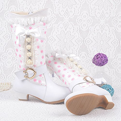 Zhuhaitf Excellent Girls Princess High Boots Cute Bow Lace Low Heels Kids Casual Shoes 5667 white