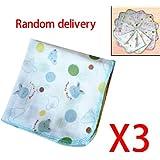 3pièces/lot Serviette Coton Gaze Double Couche Color Edge Mouchoir Lovely pour bébé enfant