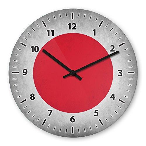 Wanduhr mit Motiv - Japan Flagge - aus Echt-Glas | runde Küchen-Uhr | große Uhr modern