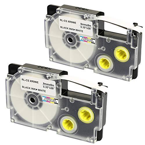 2 Kassetten XR-9WE XR-9WE1 schwarz auf weiß 9mm x 8m Schriftband kompatibel für CasioKL-60 KL-100 KL-120 KL-200 KL-300 KL-750 KL-780 KL-820 KL-2000 KL-7000 KL-7200 KL-8100 CW-L300 Beschriftungsgerät