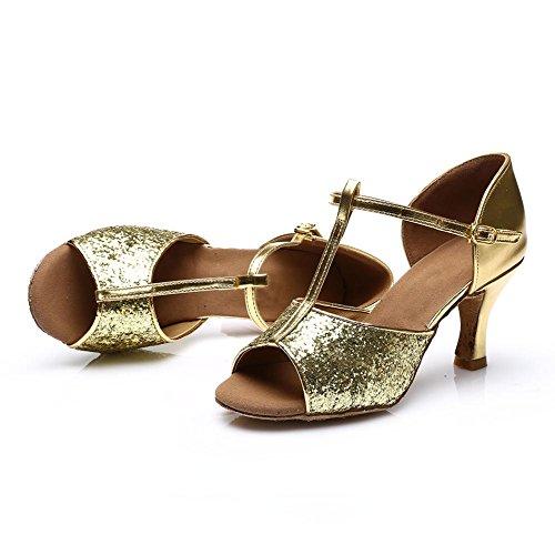 HROYL Damen Tanzschuhe/Latin Dance Schuhe Satin Ballsaal Modell-D7-216 Gold 40 EU - 5