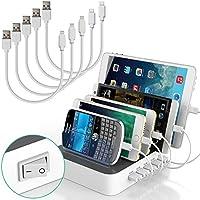 IMLEZON Stations de charge 5 Ports USB Multiport Support Chargeur Station et 5 Câbles pour iPhone iPad Smartphones et Tablettes (Blanc)