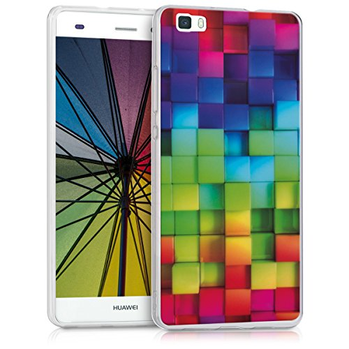 kwmobile Hülle für Huawei P8 Lite (2015) - TPU Silikon Backcover Case Handy Schutzhülle - Cover klar Regenbogen Würfel Design Mehrfarbig Grün Blau