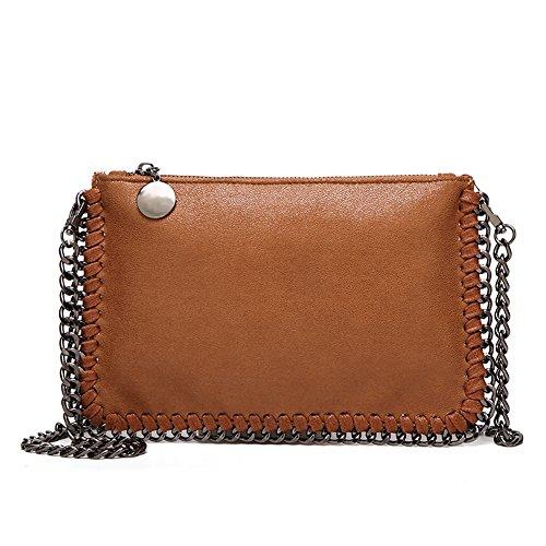 Angleliu Damen PU lässigen Kette Handtasche Modisch Schultertaschen Glitzer Beuteltasche (Kleine braune Tasche) -