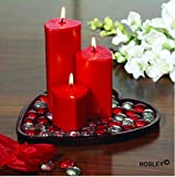 #10: Hosley Highly Fragranced Set of 3 Heart Shape Candles with Glass Beads and Heart Shape Plate