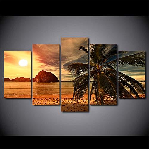 MXmama leinwand gemälde hd Prints Poster 5 stücke Tropical Beach Palm Trees Sunset Seascape Bilder 40x60 cm 40x80 cm 40x100 cm no Frame