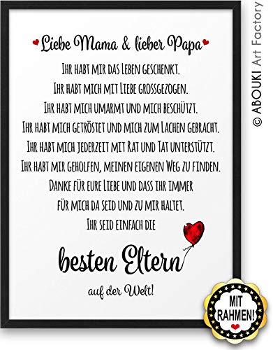 Beste Eltern ABOUKI Kunstdruck Geschenk-Idee Geburtstag Weihnachten für Mutter Mama Vater Papa Frau Mann inklusive schwarzem Holz-Rahmen A4