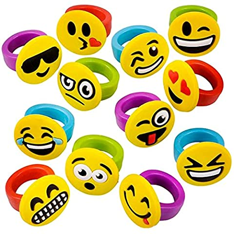 German Trendseller® - 6 x bagues pour enfants┃emoji ┃smiley┃ émoticons