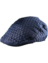 005181e5436 Itzu Men s Quilted Country Flat Cap Cabbie Newsboy Golf Gatsby Lined in  Black