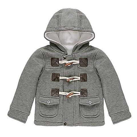 CHIC-CHIC-Manteau Duffel-coat Hiver pour Bébé Garçon Fille à Capuche Blouson Epaisse Chaud Hoodies (5-6 ans, gris)