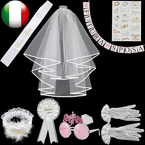 Meteor 8 pezzi gadget addio nubilato per sposa satin sash,striscione con scritta '❤futura❤sposa', spilla rosette,velo,giarrettiera, occhiali rosa, guanti bianco con, tatuaggi temporanei