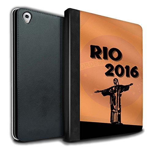 Olympia-kollektion (Stuff4® PU-Leder Hülle/Case/Brieftasche für Apple iPad Pro 9.7 Tablet/Orange Muster/Rio Olympisch Kollektion)