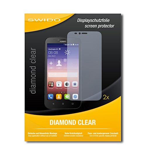 SWIDO 2 x Bildschirmschutzfolie Huawei Y625 Schutzfolie Folie DiamondClear unsichtbar