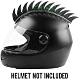 Autofy Helmet Accessory Cuttable Rubber Mohawk/Spikes with Green Abstract for All Motorcycles Dirt Bike and Normal Helmets (Black)