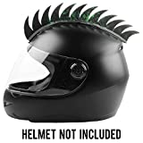 #2: Autofy Helmet Accessory Cuttable Rubber Mohawk/Spikes with Green Abstract for All Motorcycles Dirt Bike and Normal Helmets (Black)