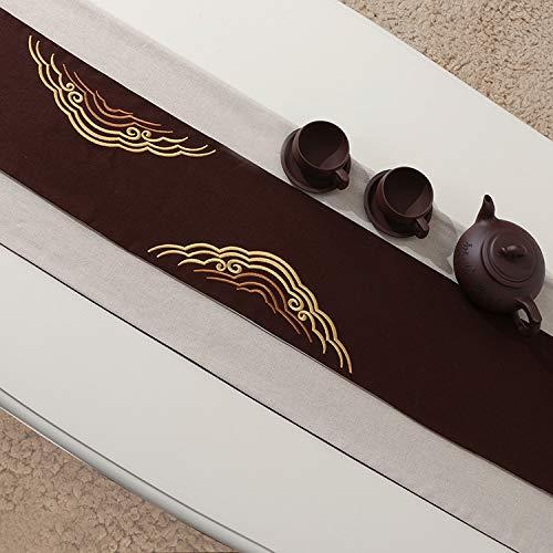Zen klassischer Stoff Baumwolle und Leinen Stickerei Tee Tablett Couchtisch Kaffee + weiß 33x200 cm -