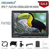 Feelworld FW760 Caméra Monitor 7' 4K HDMI Ultra HD 1920x1200 Champ Vidéo LCD IPS écran 1200:1 Contraste élevé pour CAM Steady, DSLR Rig, Kit Caméscope, Stabilisateur de Poche