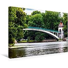 Calvendo Premium Textil-Leinwand 45 cm x 30 cm Quer, Abteibrücke (Treptow) | Wandbild, Bild auf Keilrahmen, Fertigbild auf Echter Leinwand, Leinwanddruck Orte Orte