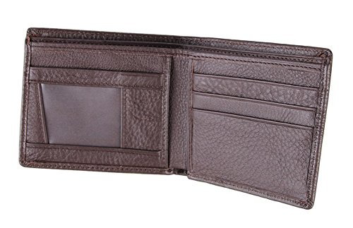 Everdoss Hommes portefeuille en cuir portemonnaie sac à main bourse sacoche pliable court café