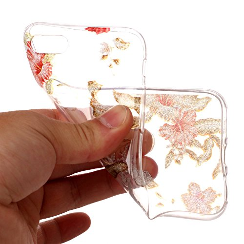 Coque iPhone 7, iPhone 7 Coque Silicone Transparent, SainCat Ultra Slim Transparent TPU Silicone Case Cover pour iPhone 7, Coque Bling Gliter Strass Brillante Anti-Scratch Crystal Clear Soft Gel Cover Azalée