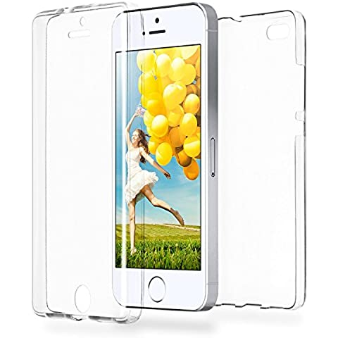 Caso doble para iPhone 5 / 5S / SE | Funda de silicona transparente cubre todo | Delgada 360° completa casos del smartphone OneFlow | Back Cover en