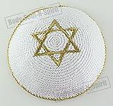 Estrella de David DORADA Kipà tejida Yarmulke judío cubrecabeza étnica de Israel