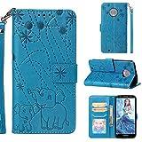 Edauto Hülle für Motorola Moto G6 Handyhülle Elefant Muster Flip Case Leder Tasche Kunstleder Brieftasche Wallet Schutzhülle Ständer Kartenfach Magnetisch Bookstyle Handyschale Blau