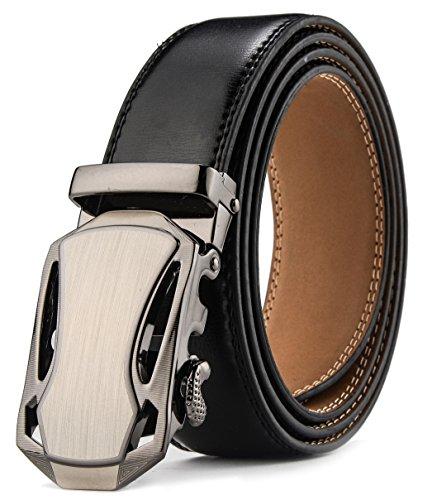 HW Zone Ledergürtel Herren Ohne Löcher Gürtel mit Automatikschließe-3,5cm Breite- Länge 125cm Geeignet für 37-43 taille, (Einfach Cowboy Kostüm)