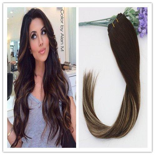 Balayage Marron foncé et blond clair 35,6 cm 40,6 cm 45,7 cm 50,8 cm 55,9 cm remay cheveux Extensions en cheveux 100% humains