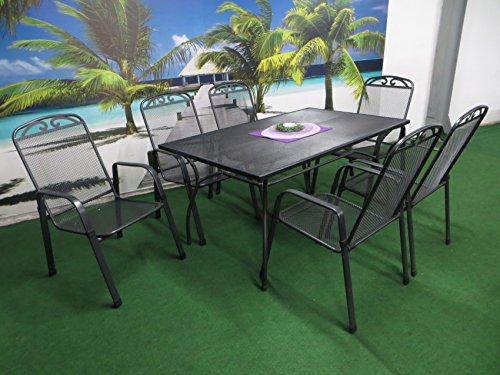 MFG 7-teilige Luxus Streckmetall Gartenmöbelgruppe RRR, Stapelsessel und Gartentisch 150x90 anthrazit, P22