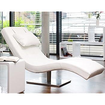 designer liege chaise longue aus kunstleder wei mit vernickeltem gestell siara relax - Relaxliege Wohnzimmer Weis