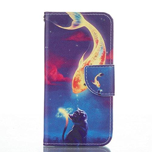 Handyhülle für Apple iPhone 6/6s 4.7 Zoll, Ekakashop Ledertasche Schutzhülle im Bookstyle für iPhone 6s, Rote Feder Muster Leder Tasche Handytasche Zubehör Portemonnaie mit Kartensteckplätze für iPhon Katzen lieben Fisch