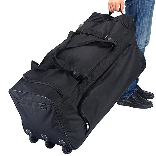 36 Rolling Wheeled Duffle Bag Luggage Suitcase Travel Black New by PPRICH - 36 Rolling Duffle