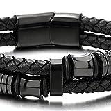 Doppel-Lap Schwarz Geflochtenem Lederarmband Herren Armband Leder Schweißband mit Schwarz Edelstahl Verschluss - 3