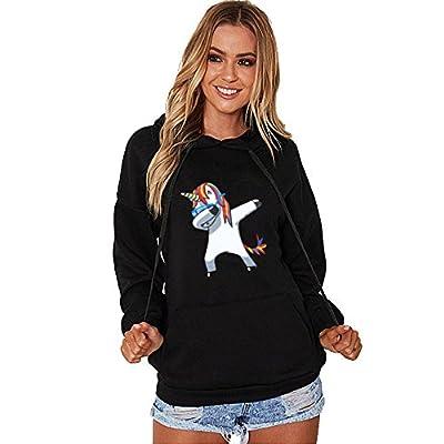 Damen Hoodie Sweatshirt Kapuzenpullover Dab Dance Einhorn Unicorn Bekleidung Loveso Frauen Jumper Langarmshirt Streetwear Herbst Winter Warm Kapuzenpulli Top