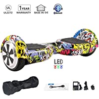 Hoverboard 6.5 Pulgadas 700W con Altavoz Bluetooth UL2272 Luces LED Scooter eléctrico (Hip-Hop)