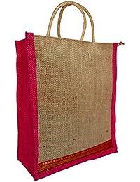Styles Creation Designer Pink & Almond Brown Jute Lunch Bag/ Insulated Hot Case Handbag/ Carry Bag (HNDBG53)