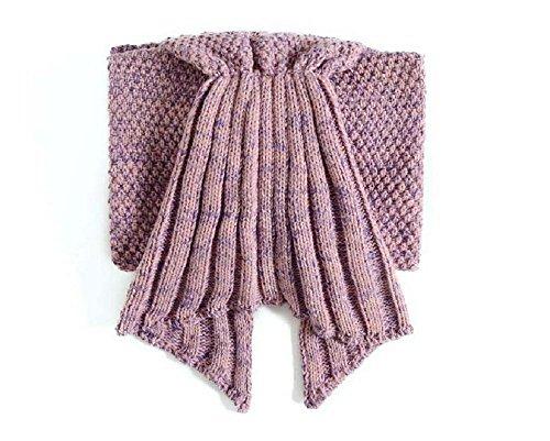 yunnasi handgefertigt Meerjungfrau Schwanz Crochet Decke für Erwachsene, Füße Go in Flossen, Super Soft Cozy Baumwolle, perfekt Little Mermaid Cute Geschenk dünn Erwachsene 193x 89,9cm & Erwachsene 179,8x 79,8cm, holz, Pale pinkish gray, Kids 55''x27.5'' -