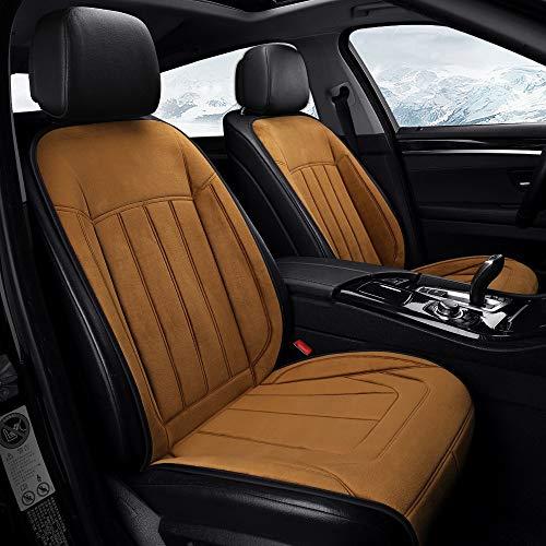 NBSMN Heizauflagen Auto Sitzbezüge, 12-24V Auto Vorne Beheizte Sitzkissen Universal rutschfest Sitzheizung Sitzauflage 30-60℃ Heizkissen, Mit Dual-Interface-ladegerät
