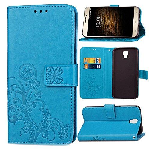 Guran PU Ledertasche Case für UMI Rome/Rome X Smartphone Flip Cover Brieftasche und Stent Funktionen Hülle Glücksklee Muster Design Schutzhülle - Blau