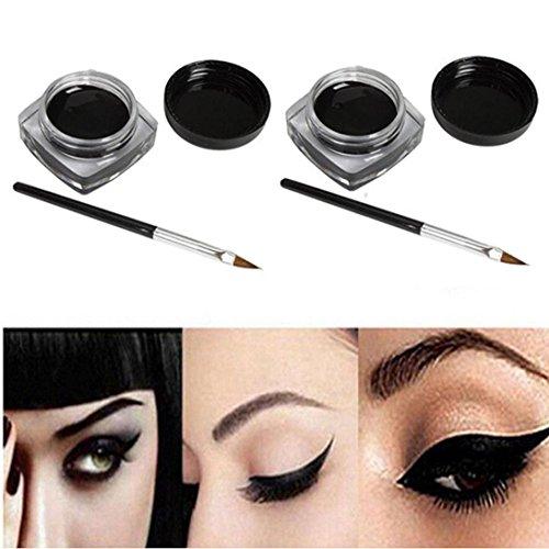 Beauté Top 2 PCS Mini Eyeliner Gel CrèMe Avec Brush Maquillage CosméTique Noir Vie ImperméAble