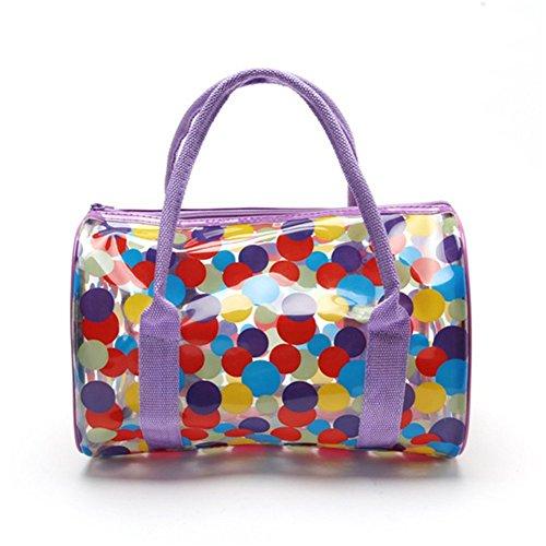 hugestore ragazze impermeabile a pois in PVC trasparente Borse Shopping Borsa da spiaggia borsa nuoto borsa Orange Purple