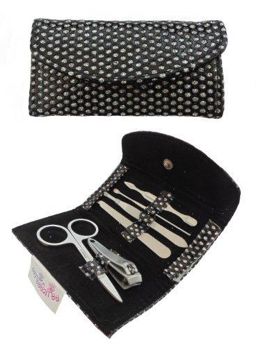 AIREE FAIREE Femme 6 pièces manucure pédicure avec des ciseaux à ongles coupe-ongles pinces black