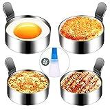 hanamichi anneau d'oeuf, 4pcs inoxydable omelette moule cuisson moule à oeufs frits antiadhésif