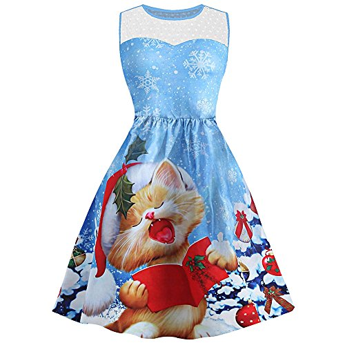 ZAFUL Christmas Dress Snowflake Cat Print Mesh Panel Weihnachten Kleid Damen Ärmellos Rockabilly Kleid Festlich Kleid für damen Swing Kleid Partykleid Cocktailkleid?40? (Fur Weihnachten Kleid)