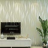 Stereowelle-Tapete 3D Einfache moderne Fernsehhintergrund-Tapete Streifen warm dick für Schlafzimmer Wohnzimmer 10m X 0.53m-Weiß