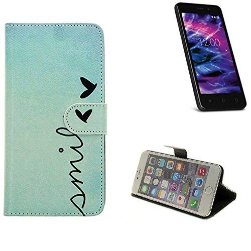 K-S-Trade® für Medion Life E4504 Wallet Case Schutz Hülle Flip Cover Tasche ''Smile'', türkis